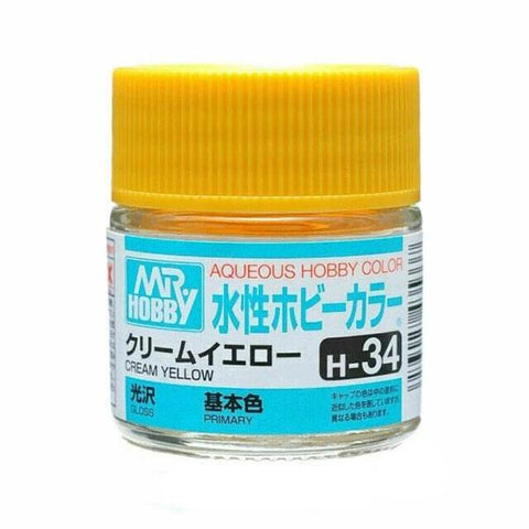 Mr Hobby: AQUEOUS HOBBY COLOR - H34 GLOSS CREAM YELLOW (PRIMARY) - Trinity Hobby