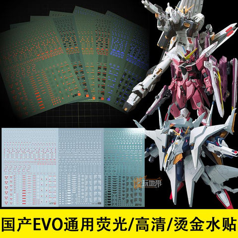 EVO Universal 1/144 / 1/100 Flurescent UV Water Decals RB02 - Trinity Hobby