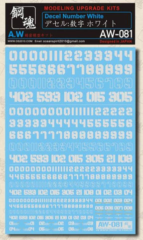 Madworks: Madworks AW-081 Waterslide Decal - Numbers (White) - Trinity Hobby
