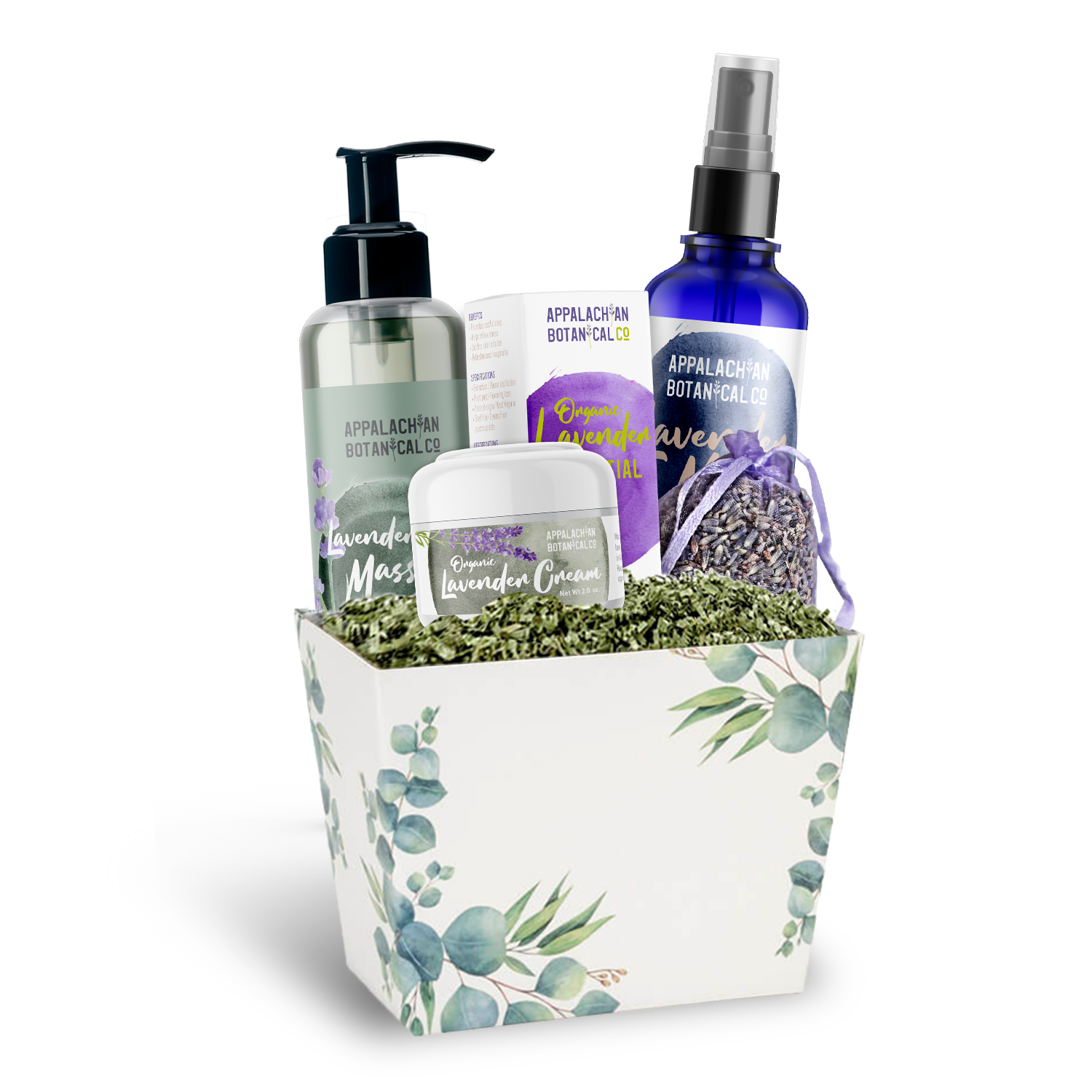 Applachian Botanical lavender massage oil, essential oil, mist, organic body cream, and lavender sachet in white gift box decorated with eucalyptus