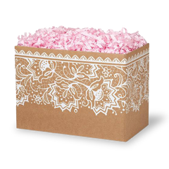 Craft gift box with white floral pattern in front of black background