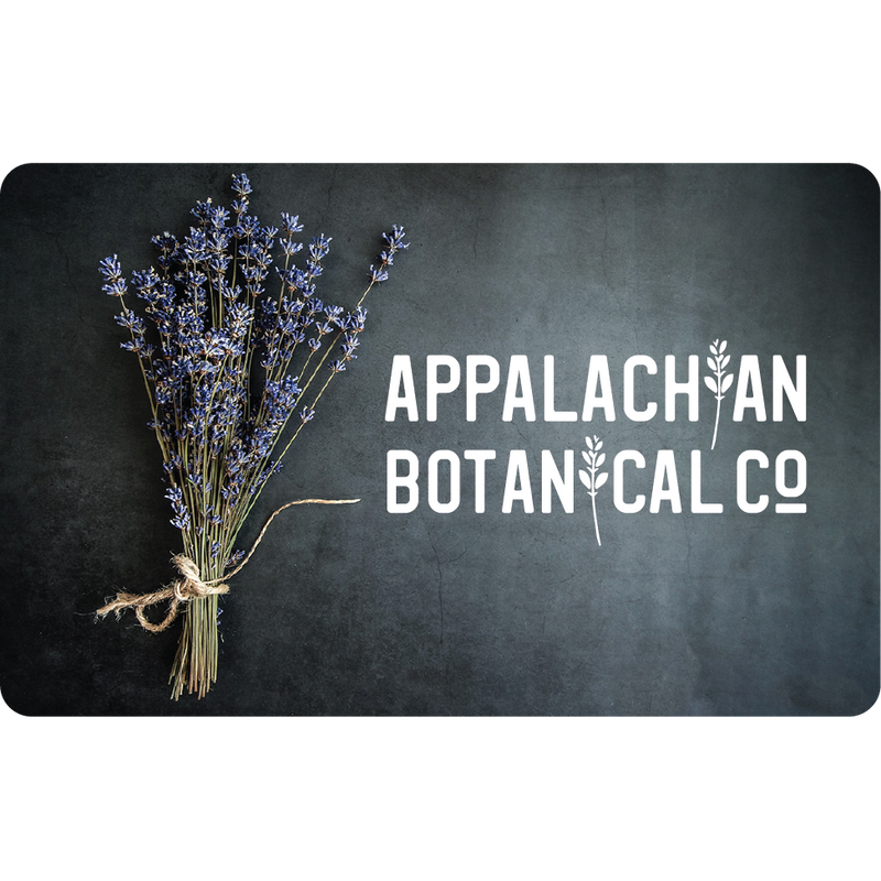 Gray gift carrd with lavender bundle and the Appalachian Botanical logo printed in white