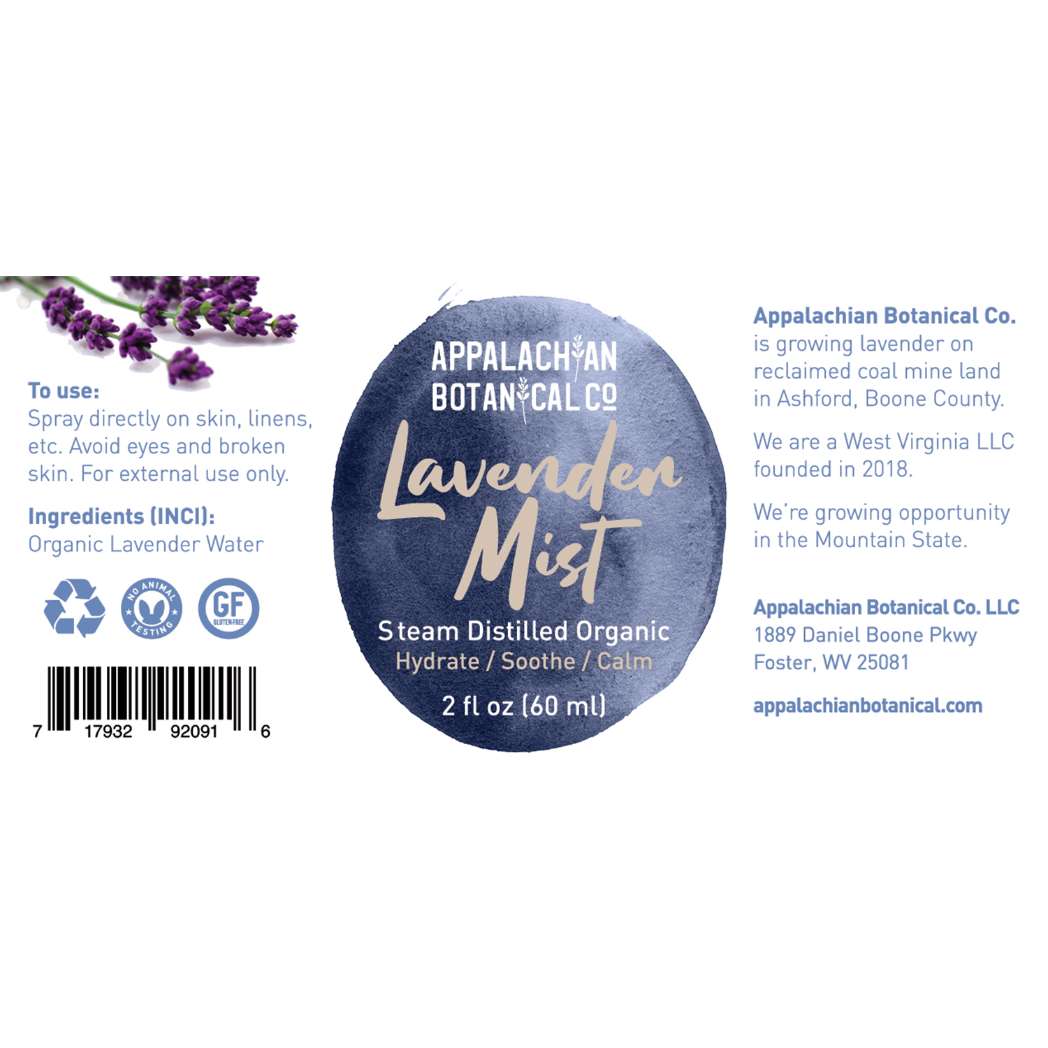 Label for 2 oz Appalachian Botanical lavender mist