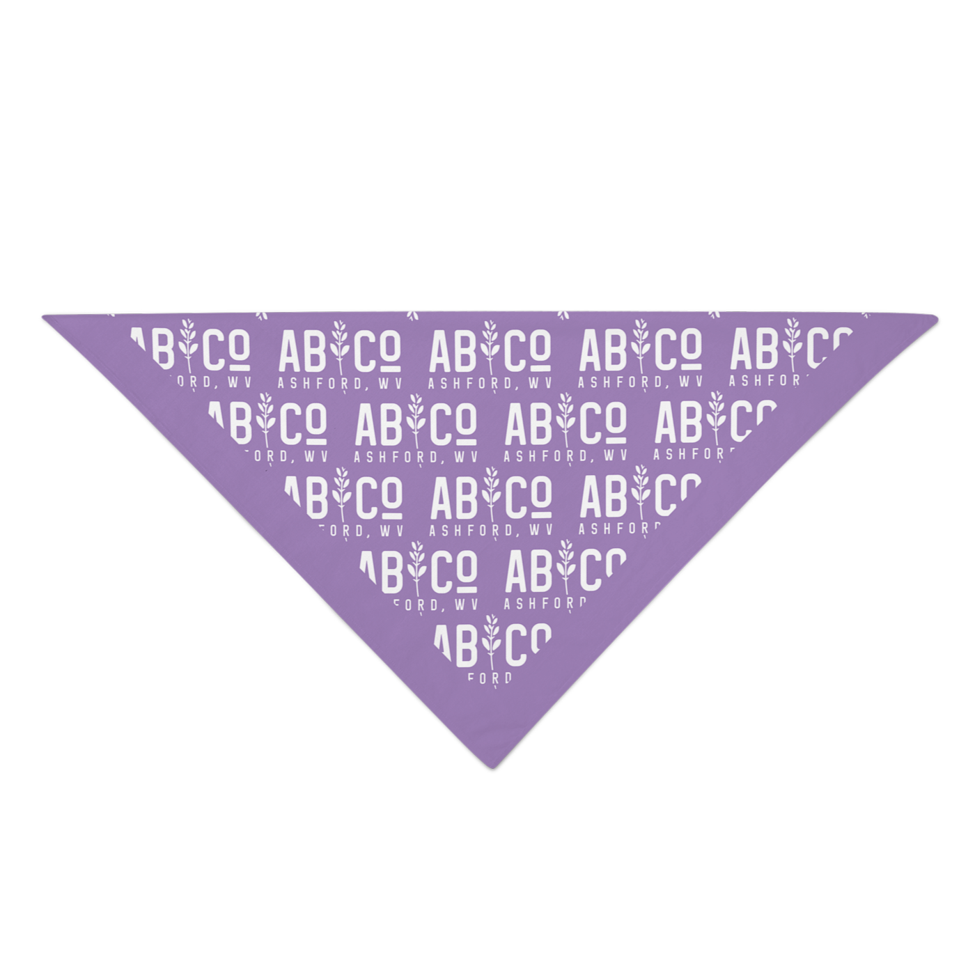 Purple bandana with the shortened Appalachian Botanical logo printed repeatedly folded into a triangle