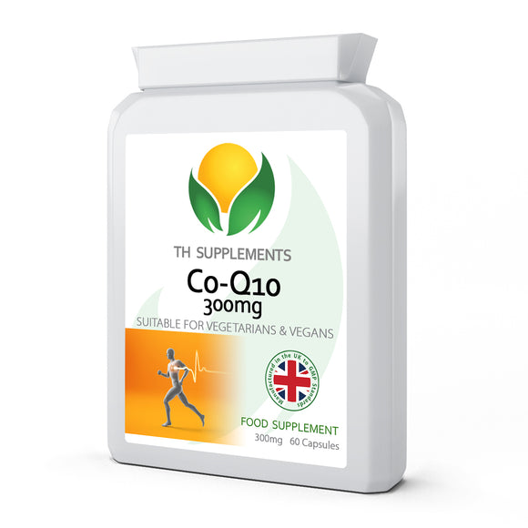 Co-Q10 300mg Plus 60 Capsules food supplements with added Vitamin B1 for heart support