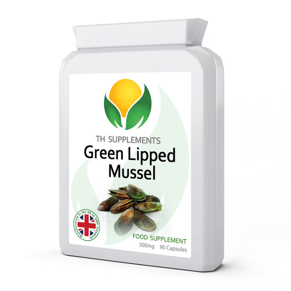 Green Lipped Mussel 500mg 90 Capsules Food Supplement  with Vitamin C contributes to for the normal function of bones and cartilage.