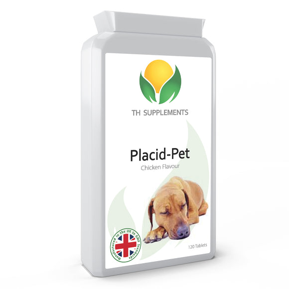 K9-Calm Pet Calming 120 Chicken Flavour Tablets food supplement to support dogs who suffer from anxiety, hyper activity and stress.