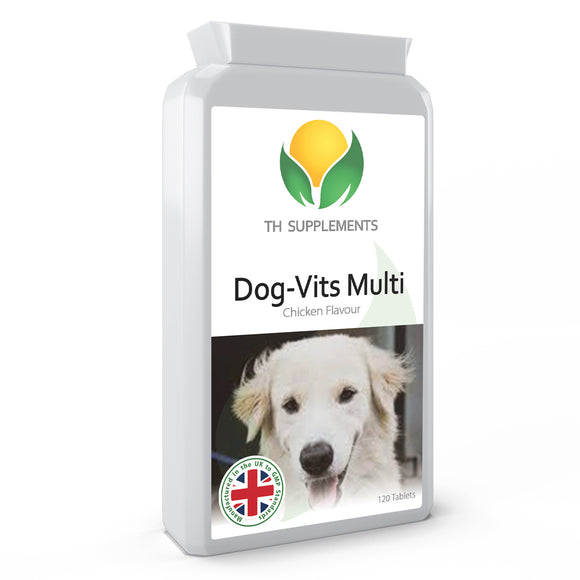 Nutri-Pooch Multi-vitamin for Dogs 120 Chicken Flavour Tablets supplements essential vitamin and minerals for dogs.