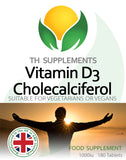 Vitamin D3 Cholecalciferol 1000iu 180 Vegan Tablets food supplement front label