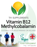 Vitamin B12 Methylcobalamin 1mg 120 Capsules food supplement front label