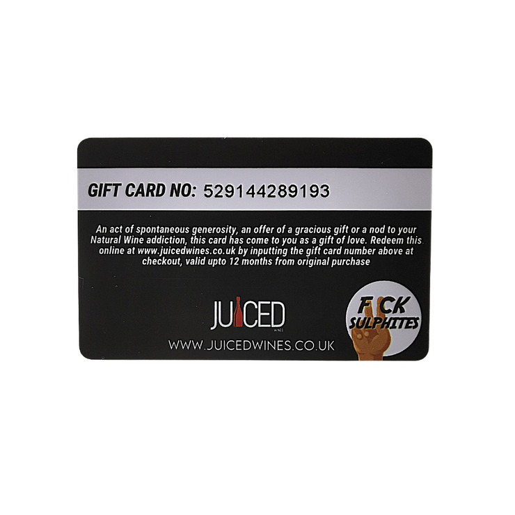 Juiced Wines Gift Card (Back)