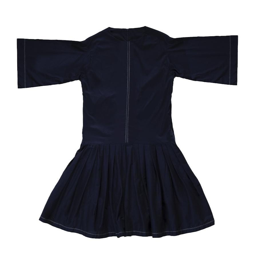 Upcycled Dropped Waist Navy Dress