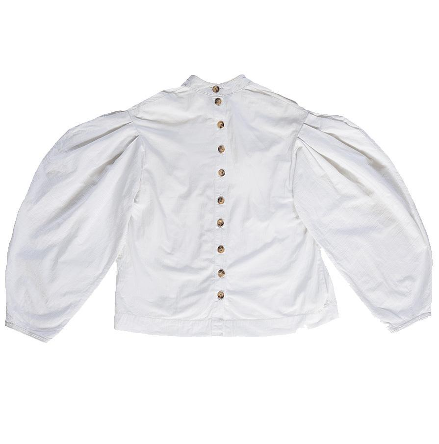 Upcycled Pleated White Blouse