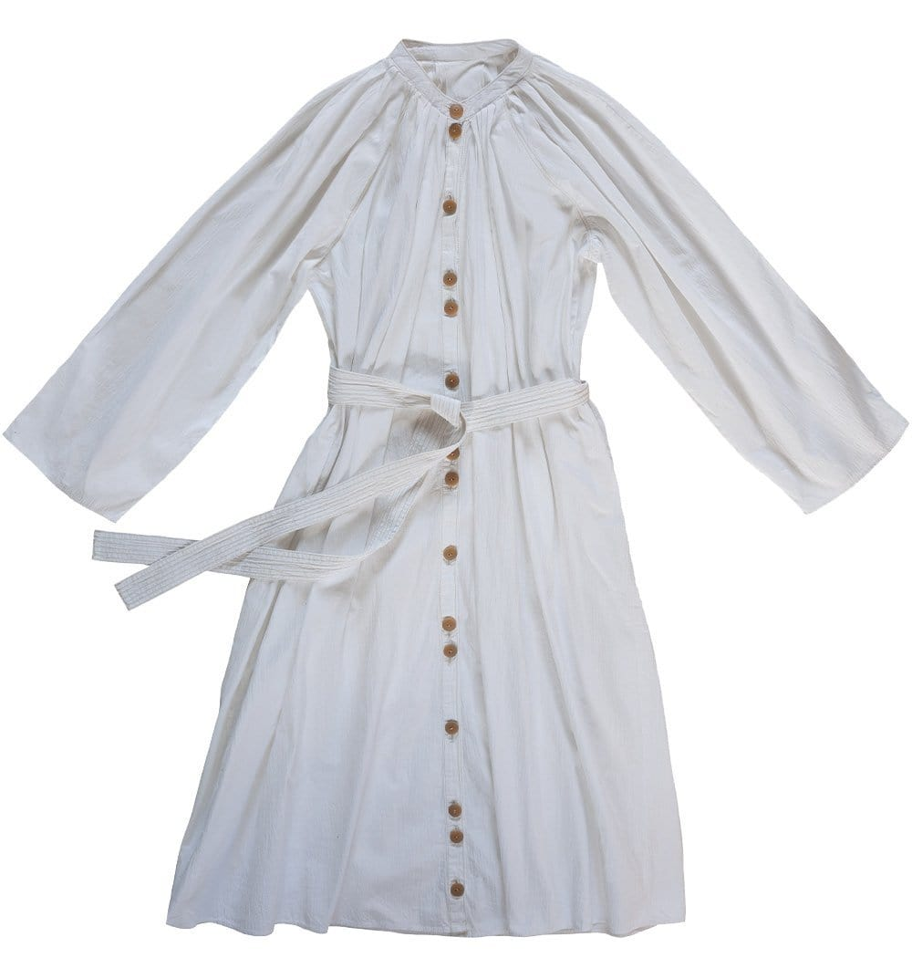 Upcycled Pleated White Dress