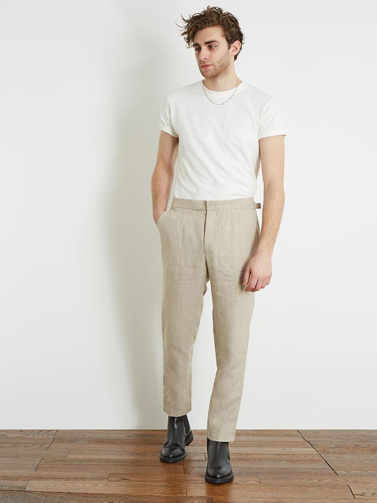 BASIC RIGHTS Stone Linen Trousers