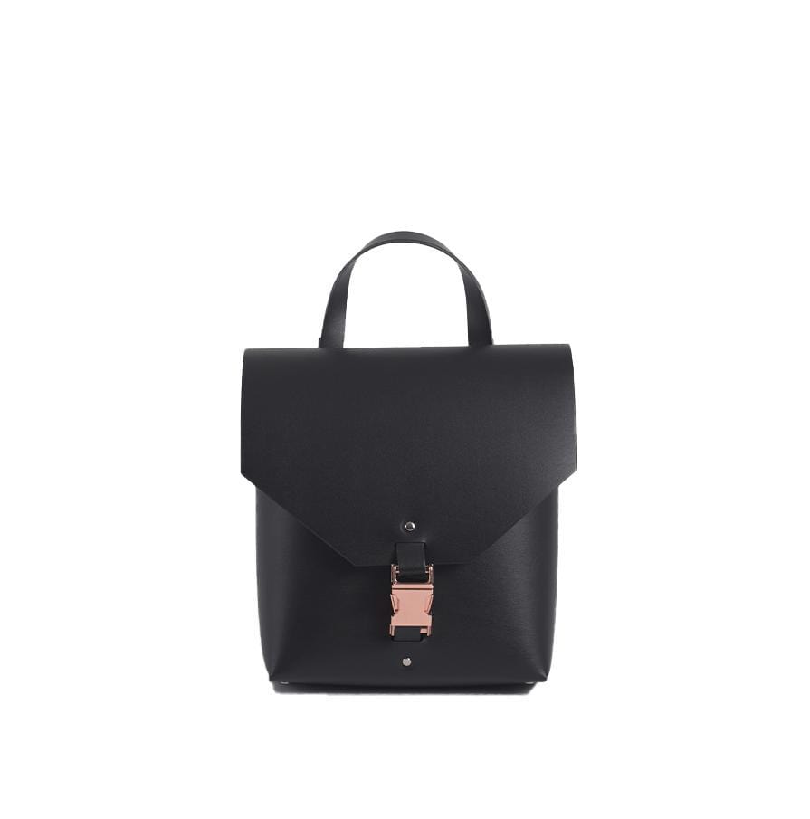Black Reclaimed Leather Backpack