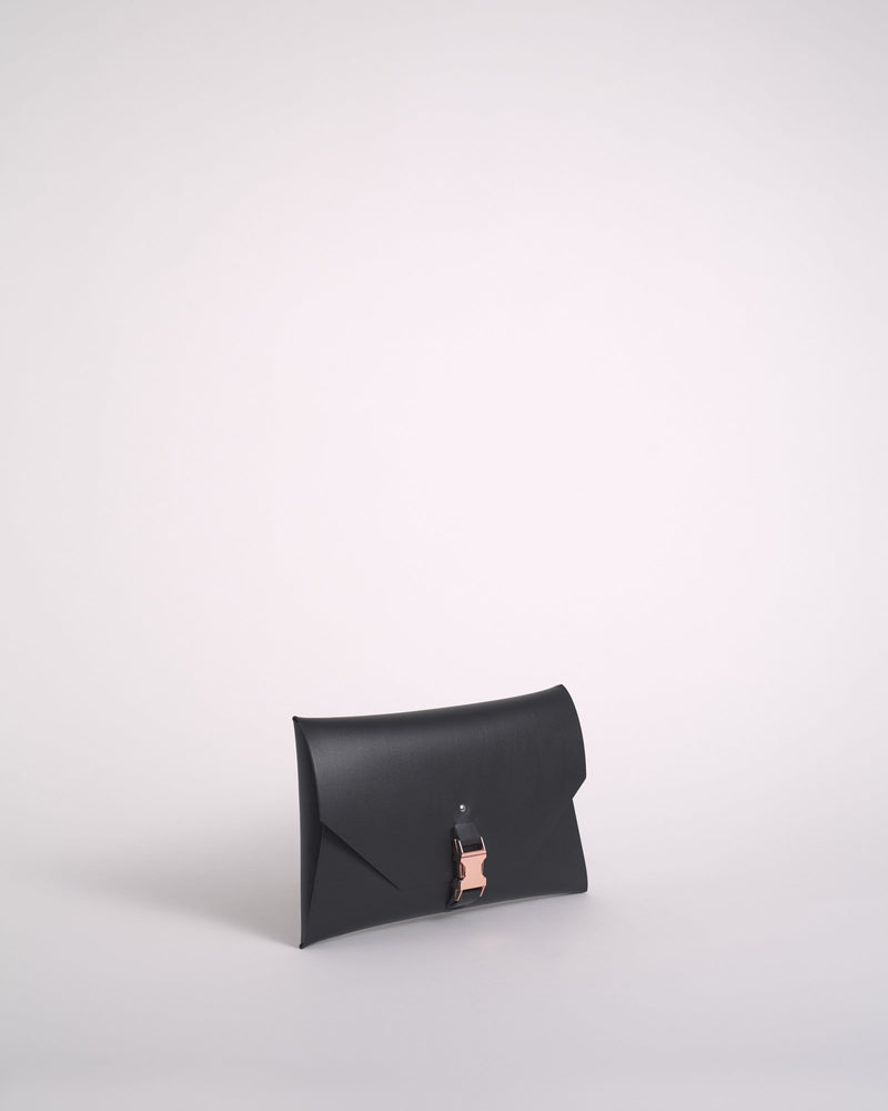 Black Reclaimed Leather Clutch
