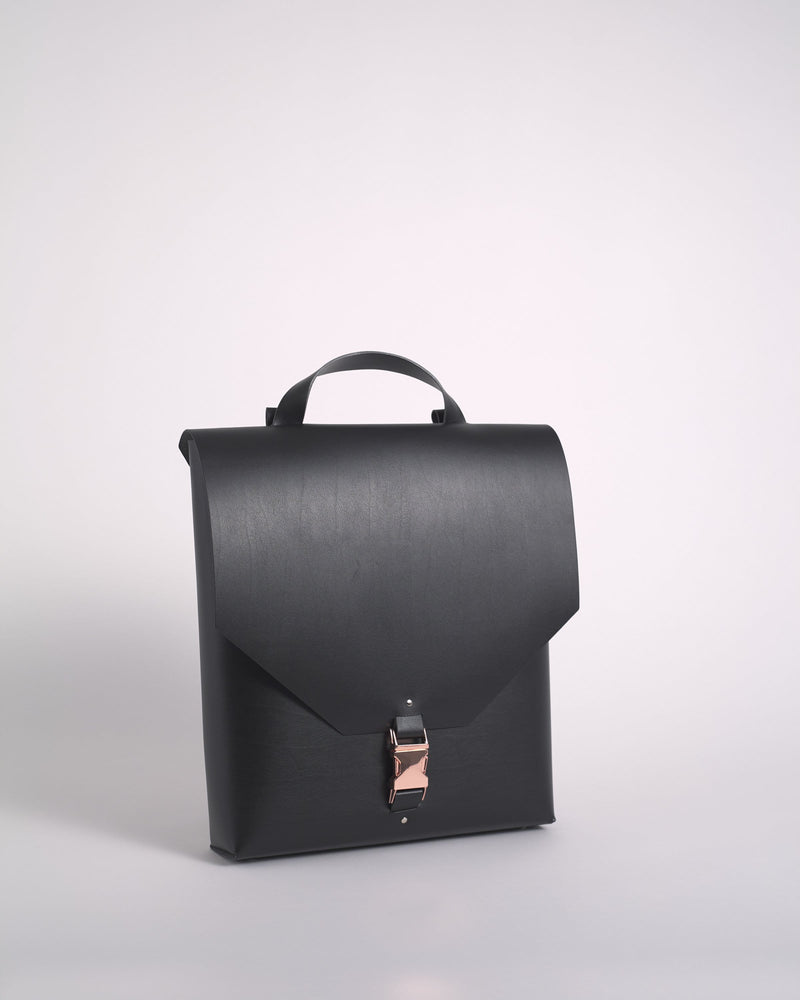 Black Reclaimed Leather Maxi Backpack