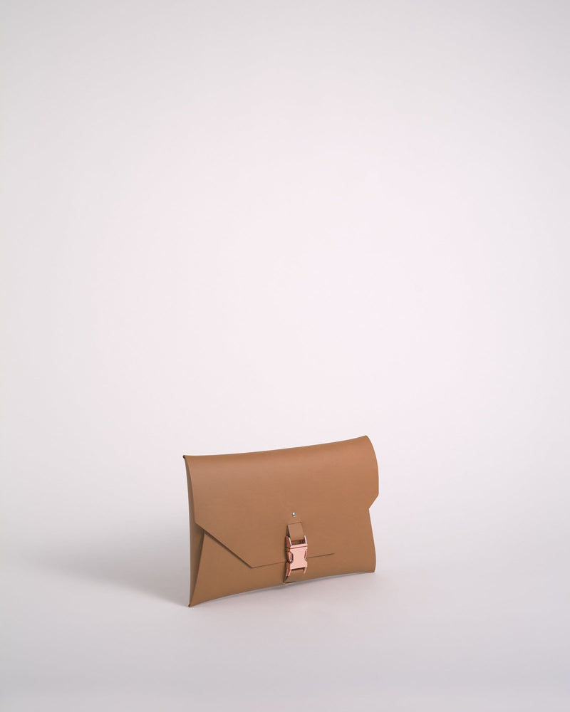 Caramel Reclaimed Leather Clutch