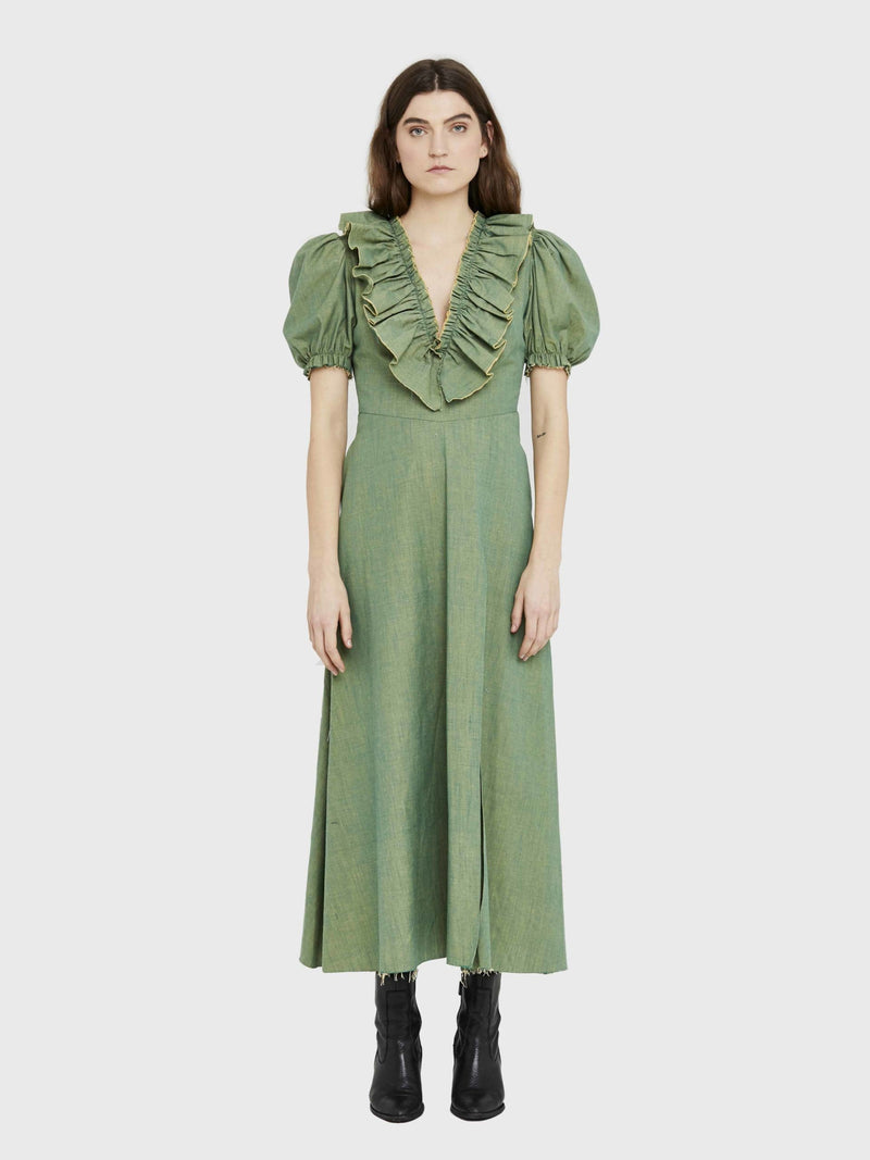 d-the-brand-organic-green-puff-sleeve-dress-slowco
