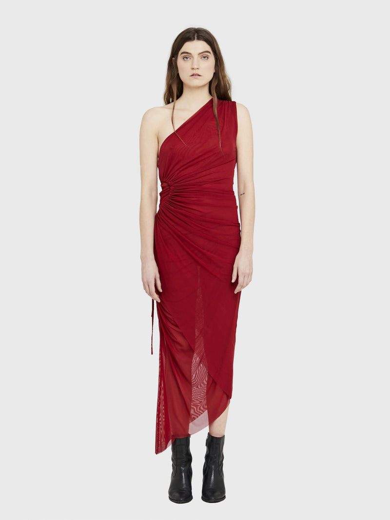 Red Tulle Midi Dress