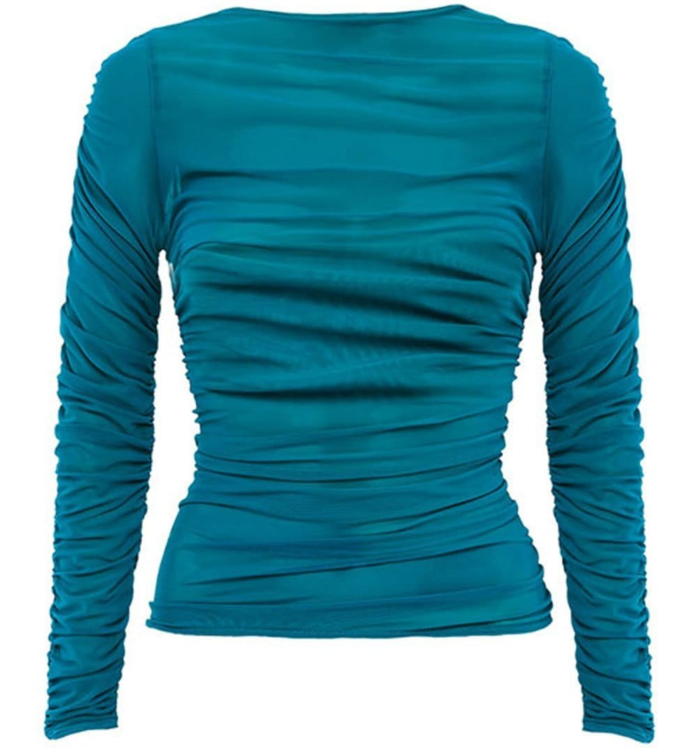 Turquoise Sheer Long Sleeve Top