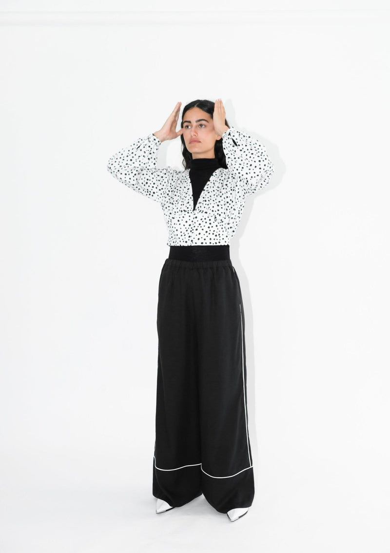Upcycled Black Wide Leg Trousers