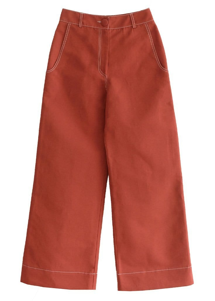 Upcycled Brick Flared Trousers
