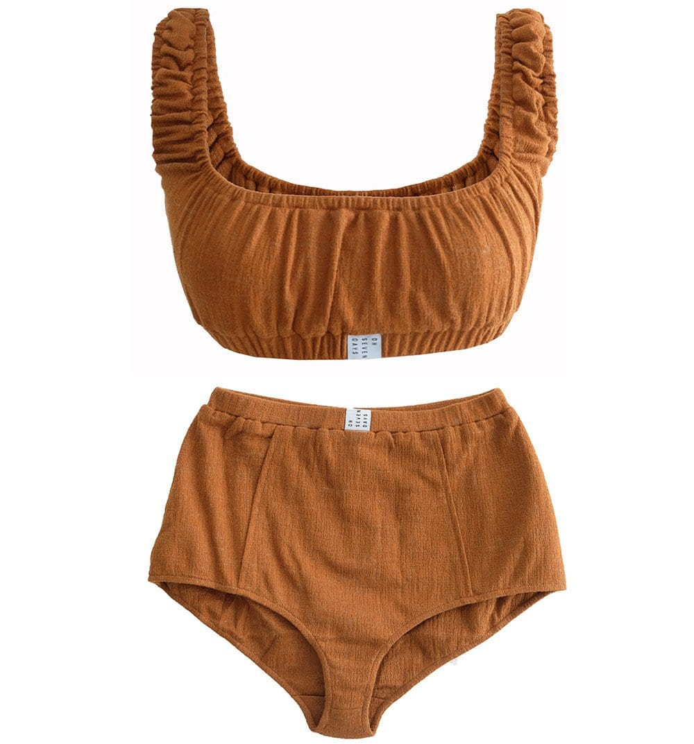 Upcycled Cinnamon Crop Top & Shorts Set