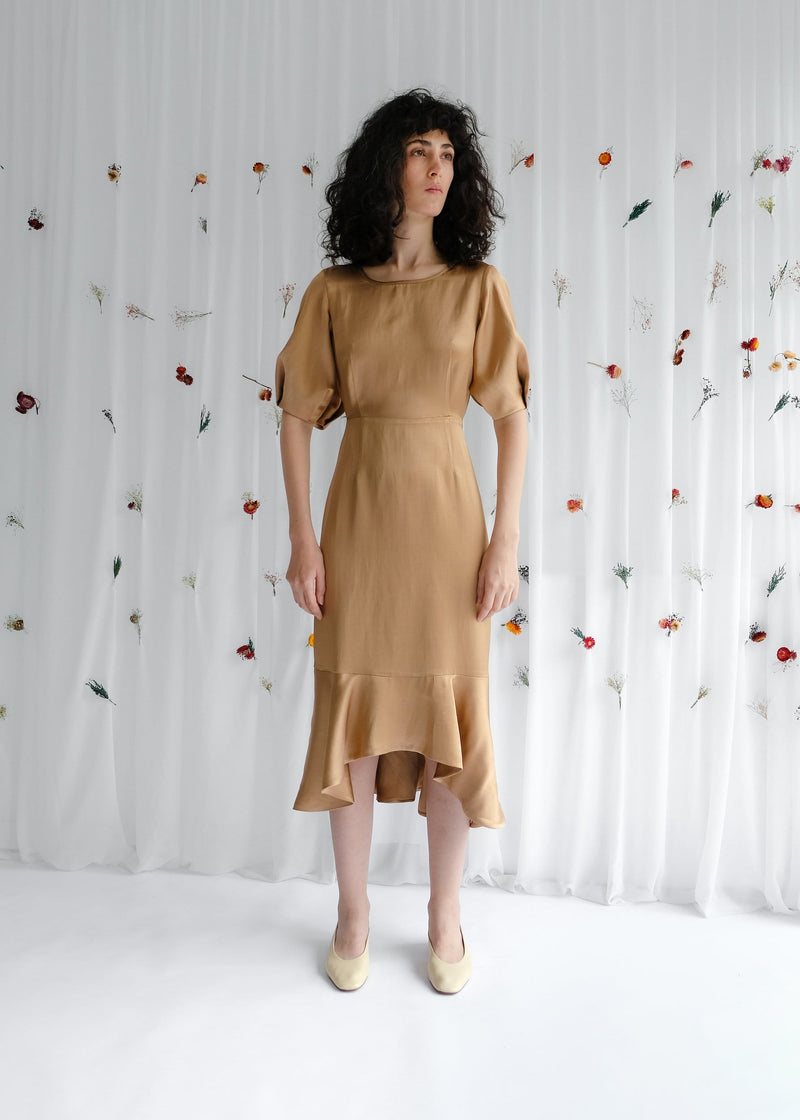 Upcycled Copper Balloon Sleeve Midi Dress