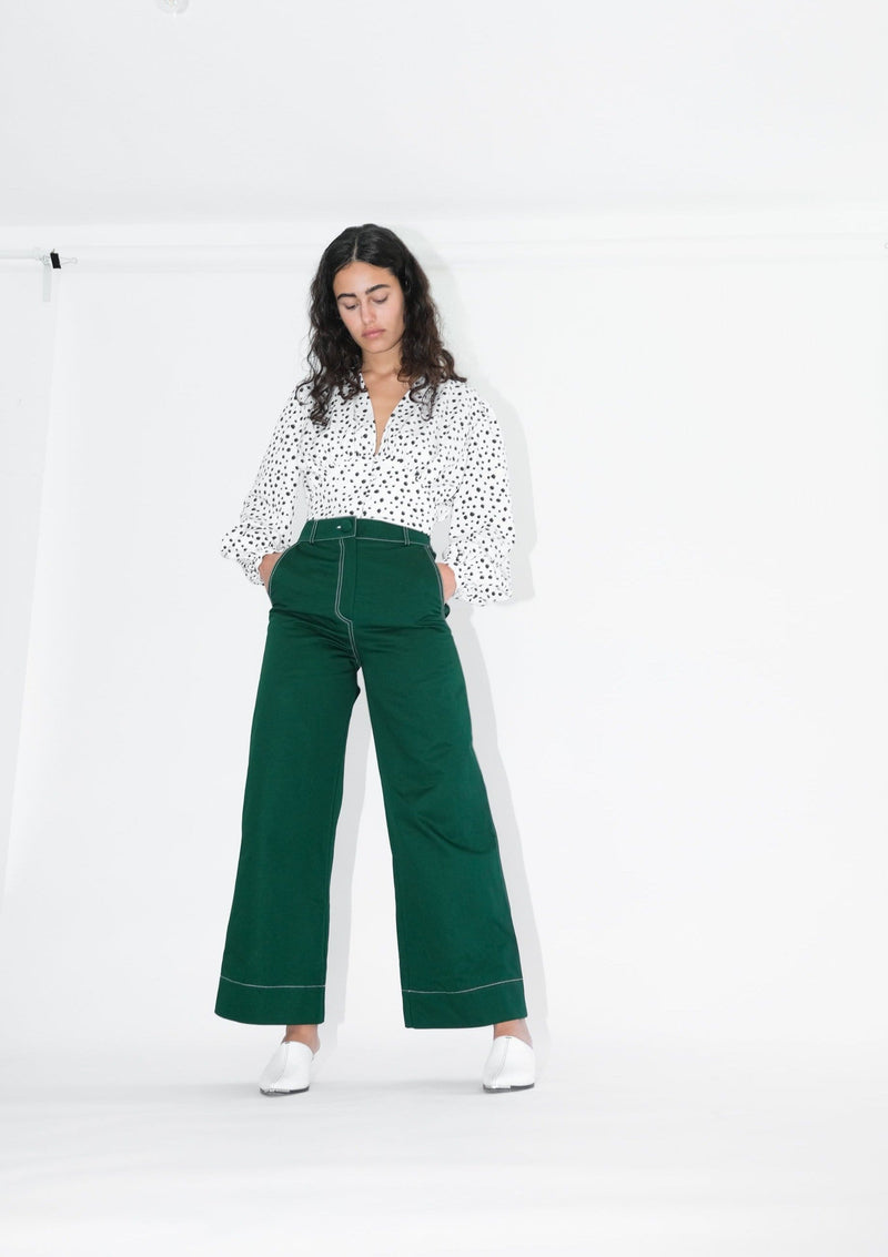 Upcycled Green Flared Trousers