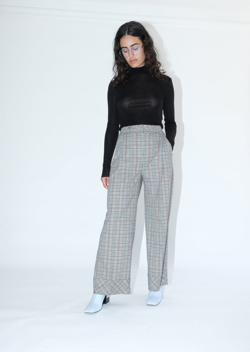 Upcycled Grey Plaid Trouser