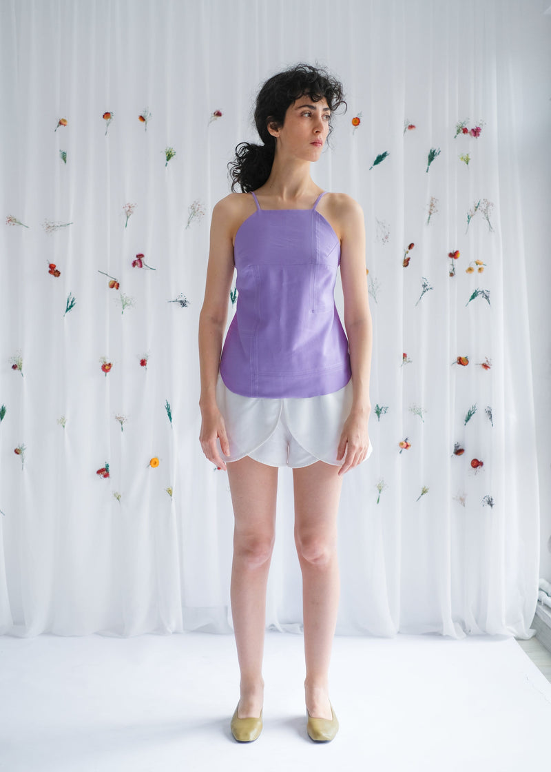 Upcycled Lilac Open Back Top