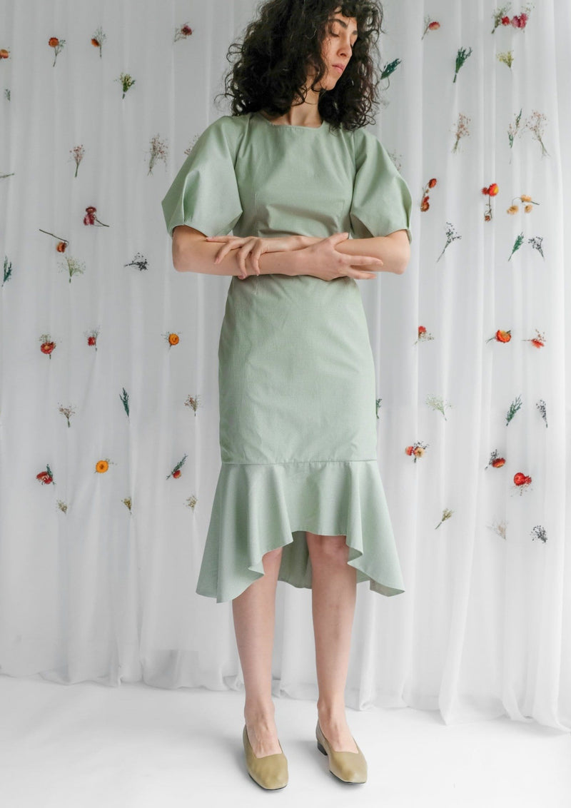 Upcycled Pistachio Balloon Sleeve Midi Dress