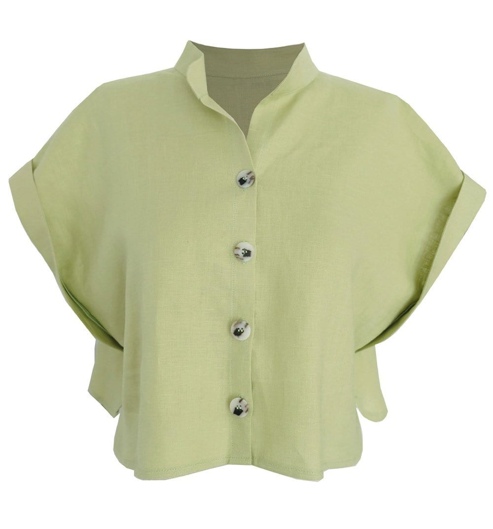 Upcycled Pistachio Cropped Linen Shirt