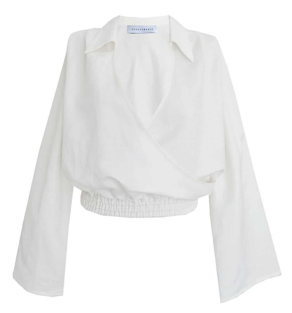 Upcycled White Collared Wrap Blouse