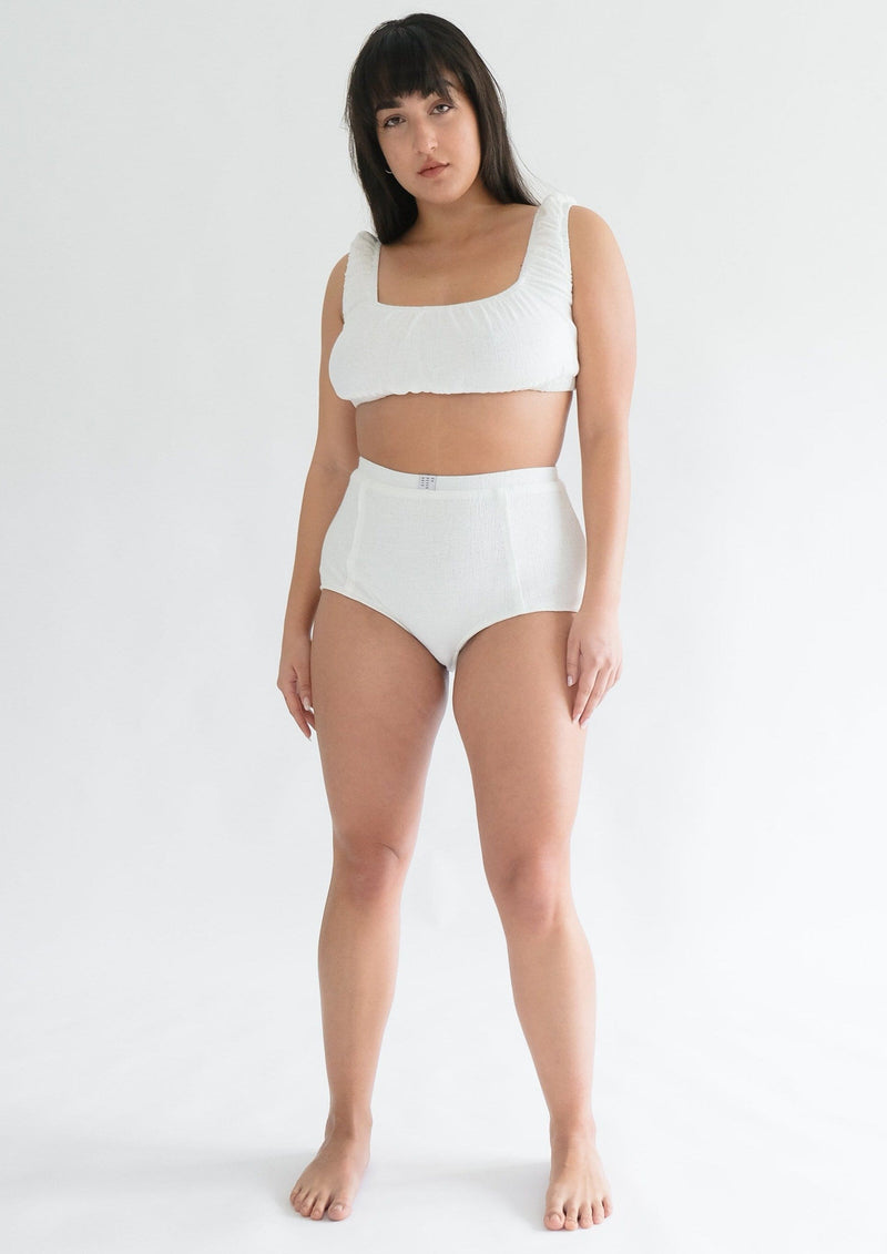 Upcycled White Crop Top & Shorts Set