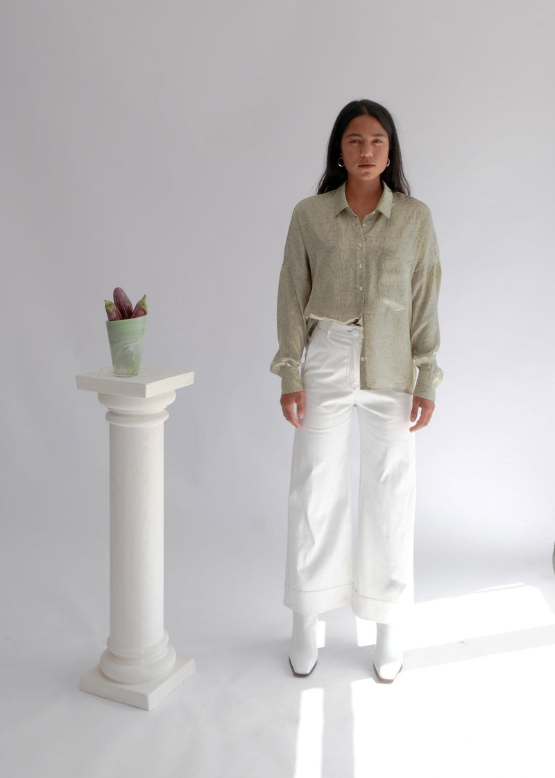 Upcycled White Flared Trousers