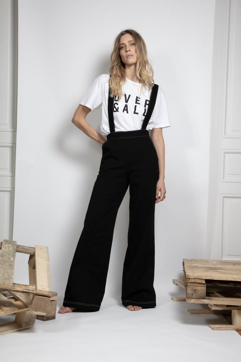Organic Black Suspender Jumpsuit