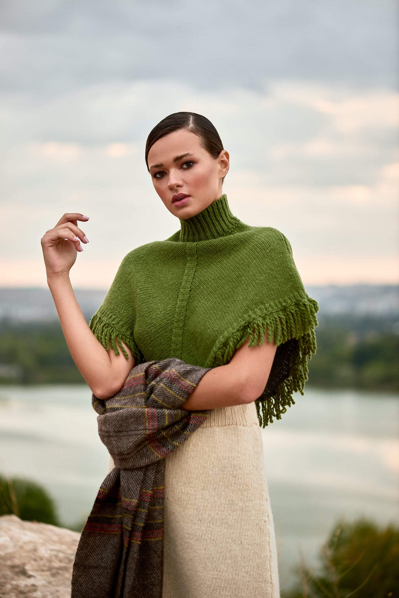 Green Knit Mini Poncho