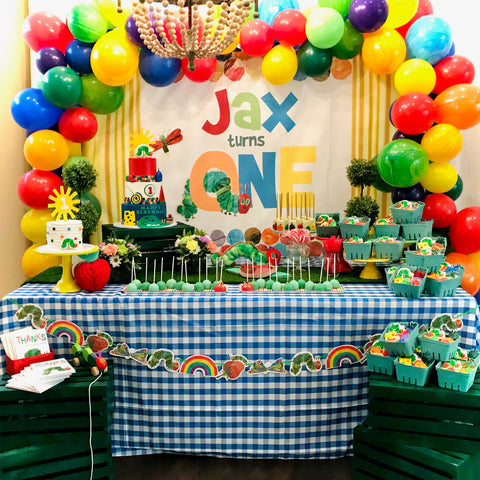 Very Hungry Caterpillar 1st birthday cake table