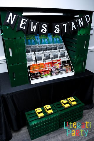 new york newsstand birthday party favor table