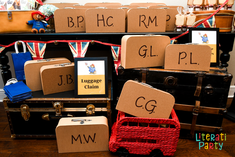 Suitcase favor boxes for a London Paddington themed birthday party