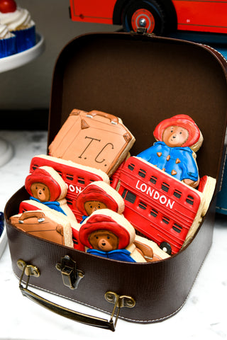 Paddington bear and london themed custom cookies