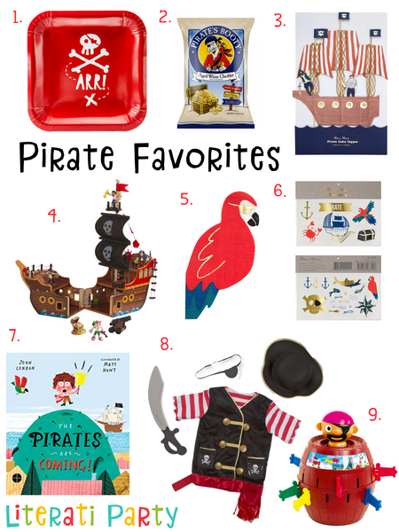 Literati Party's Favorite Pirate Themed Kids Birthday Party Supplies, Toys, Dress Up Costumes