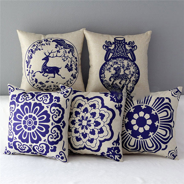 Vintage Chinese Style Linen Pillow Case Sofa Waist Cushion Cover Bed Home Decor