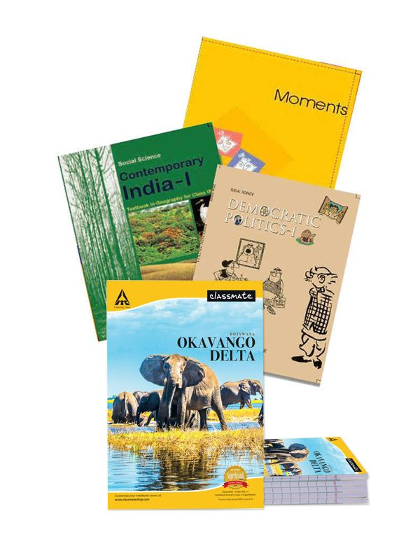 NCERT Complete Books Set for Class -9 (English Medium)with Single line Classmate notebook, soft cover, 172 pages A4 Size (Pack of 7 notebooks) - Latest edition as per NCERT/CBSE