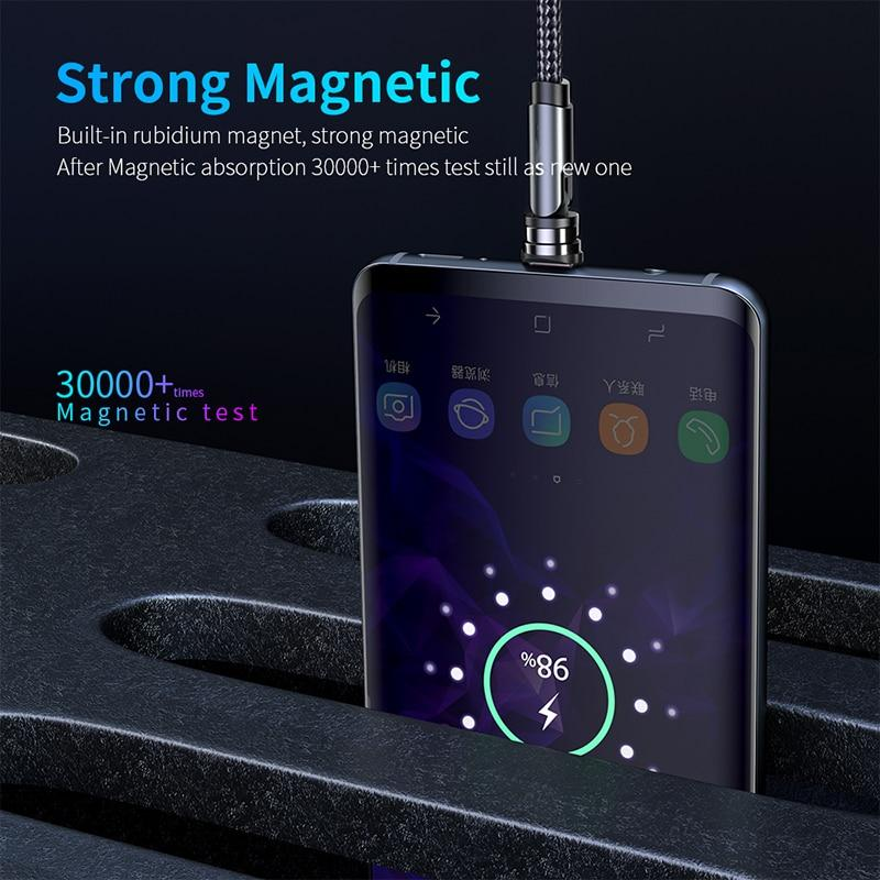 2020 Newest 3 in 1 Fast Charging 540 Degree Rotating Bend Multifunctional Magnetic Charging Cable