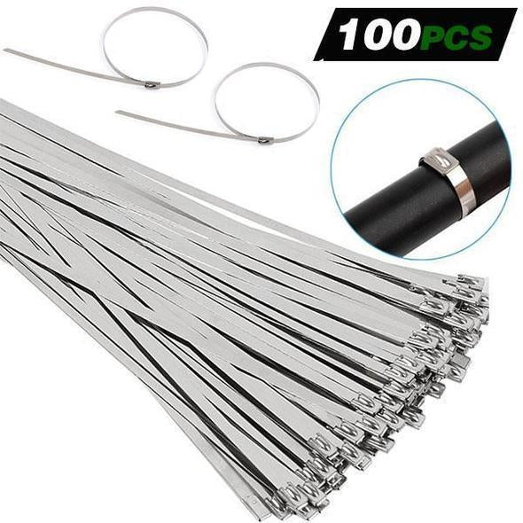 100PCS Multi-Purpose Locking Cable Metal Zip Ties & Stainless Steel Cable Tie Pliers
