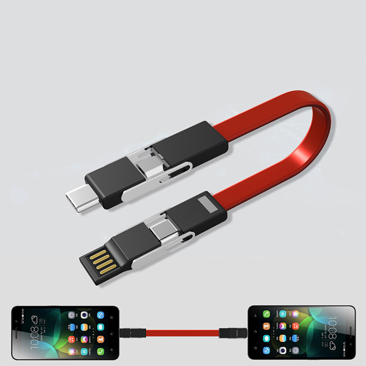 3 in 1 mini keychain cable that can be charged by mobile phone